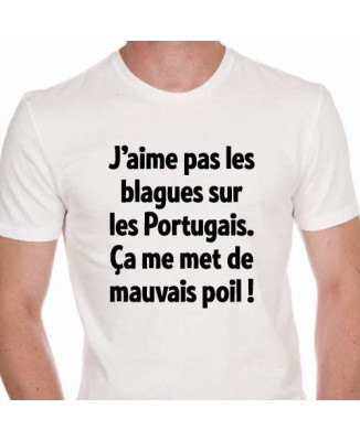 T-shirt humour Blagues... Portugais... Poil...