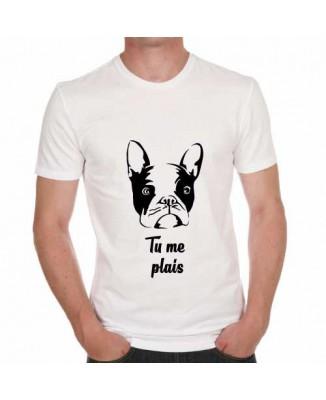 Tee-shirt chien,t shirt tu me plais