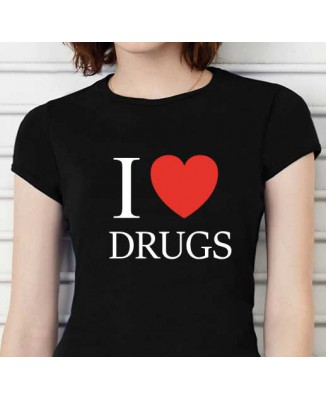 T-shirt humoristique I love Drugs