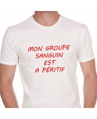 Tee shirt Humour Mon Groupe Sanguin Est Apéritif