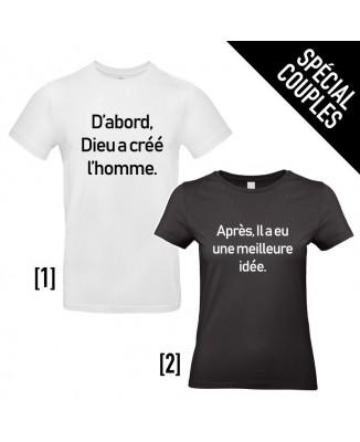 Tee shirts pour Couples - Dieu a créé l'Homme...
