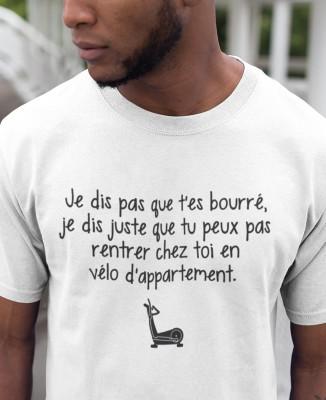 Tee-shirt Homme Humour Rentrer en Vélo d'Appartement