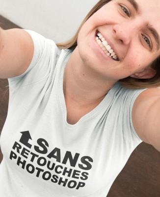 """T-shirt femme geek """"Sans retouches photoshop"""""""