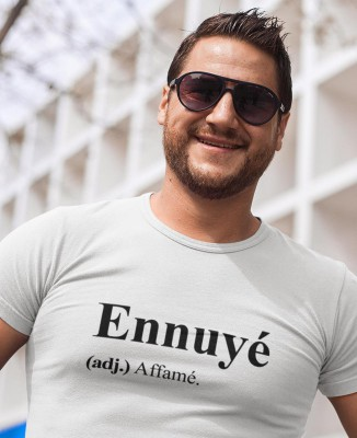 Tee shirt Blanc Homme Ennuyé (adj.) Affamé.