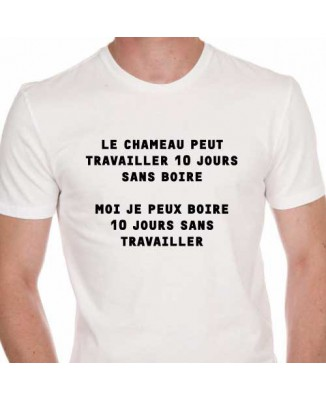 T-shirt humoristique Chameau... Boire... Travailler..