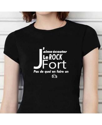 """T-shirt humour """"J'aime écouter le rock fort, pas de quoi en faire un fromage !"""""""