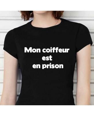 T-shirt humoristique Mon coiffeur est en prison