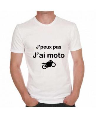 T-shirt humoristique J'peux pas j'ai moto