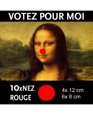 Kit de 10x stickers Nez rouge de Clown (Votez pour moi) [200386]