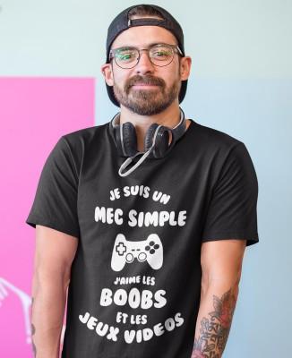 Tee-shirt Noir Homme Mec Simple J'aime Boobs et Jeux Vidéos