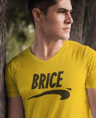 T-shirt jaune homme col V Brice de Nice
