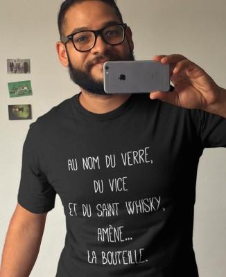 Tee shirt Homme Nom du Verre, du Vice et du Saint Whisky, Amène