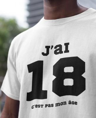 Tee-shirt Homme J'ai 18, c'est pas mon âge