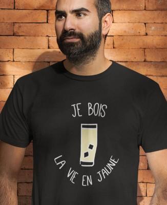 T-shirt Homme Je bois la vie en jaune (Pastis)