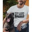 T-shirt Mon chien est gentil - Attention à ma femme