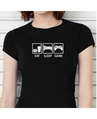 "T-shirt ""Geek, eat, sleep, game"""