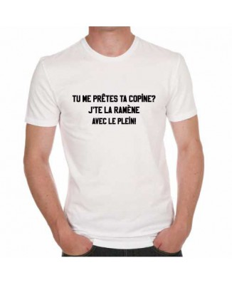 T-shirt humoristique tu me prêtes ta copine?